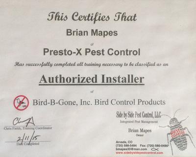 Authorized Installer Bird B Gone