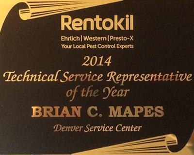 Rentokil 2014 Representative of the Year